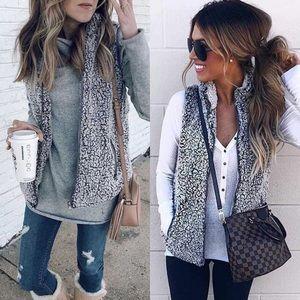 Sherpa fuzzy faux fur jacket cozy vest